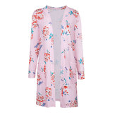 Bloemen Print Pocket Los Casual Open Long Sleeve Women Cardigans
