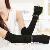 Fingerless Stripe Design Knitted Long Gloves