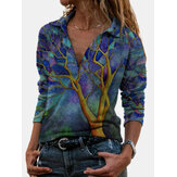 Women Allover Art Painting Printed Lapel Plunge Long Sleeve Blouses