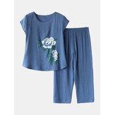 女性の花はPlusサイズのパジャマ緩い半袖お部屋着を印刷します