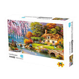 1000 Pcs Jigsaw Puzzle DIY Sakura Villa Landscape Jigsaw Puzzle Toy Home Decorations Gifts for Teenagers Adults Children Kids Educational Games Toys