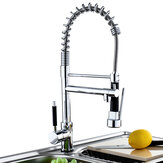 Kitchen Sink Faucet Mixer Tarik Sparyer Tap 360 Derajat Rotasi Menangani Single Chrome Kuningan Brushed Tap Dilipat