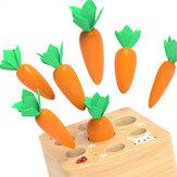 Crianças blocos de construção de madeira puxando jogo de cenoura crianças primeiros brinquedos educativos