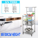 3/4 Tiers Stainless Steel Kitchen Rack Shelves Sheelf Microwave Storage Holder
