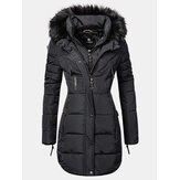 Women Solid Color Multi Pocket Zipper Front Faux Fur Collar Hooded Coat