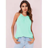Solid Color Halter Design Pleated Sleeveless Chiffon Tank Tops