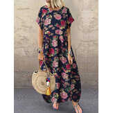 Ethnic Style Flower Print Vintage Short Sleeve Loose Maxi Dress with Pockets
