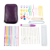 50pcs Aluminum Crochet Hooks Kit Weave Yarn Knitting Needles Sewing Tools Case