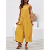 Women Cotton Wide Leg Sleeveless Backless Jumpsuit