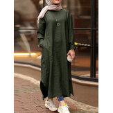 Solid Color O-neck Long Sleeves Splited Robe Kaftan Pocket Casual Maxi Dress Army Green Size M