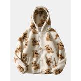 Heren schattige pop beer patroon schuin zak lange mouw warme pluche jas