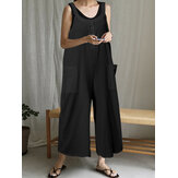 Solid Color Button Pocket Strap Sleeveless Loose Casual Jumpsuit