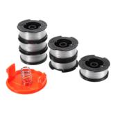 6 + 2 Trimmer Line 30ft Reemplazo de hilo de ajuste Recortador de tapa de carrete Resorte para recortadores de hilo negro y decker