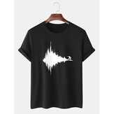 Funny Abstract Surfing Print Cotton Black Short Sleeve Loose T-Shirts