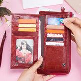 Donne RFID Antimagnetic Vera Pelle Porta carte di credito ultrasottile lungo