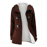 Women Hooded Coats Horn Button