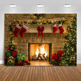 5x3FT 7x5FT 10x7FT Christmas Fireplace Red Socks Backdrop Photography Background Cloth Decoration Background Studio Prop