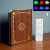 Wooden Quran Speaker Colorful LED Book Light Wireless Bluetooth Koran Reciter Speaker Ramadan Kids Adult Gift