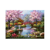Original              DIY 5D Diamond Painting Small Bridge Flowing Water Sakura Scenery Handmade Craft Cross Stitch Embroidery Home Wall Decorations