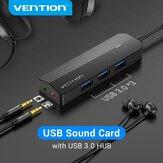 Vention 2'si 1 Arada USB 3.0 HUB 3 Bağlantı Noktalı USB Ses Kartı Harici Stereo Ses Adaptörü, 3 * USB 3.0 / 3,5 mm Ses Bağlantı Noktası / Kulaklık Mikrofon Bağlantı Noktası