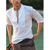 Mens Trendy Solid Color Long Sleeve White Cotton Shirts