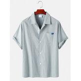 Camisas de manga corta casuales de cuello a rayas de algodón a rayas para hombre con bolsillo