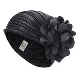Women Vintage Folding Floral Headband Beanie Cap Headgear