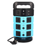 220-250V 2500W Vertical Power Strip 8 Way Outlet Power Board com 2 USB Charging Charger USB Tomada