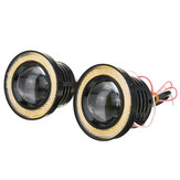 Pair 7 Colours Angel Eyes Halo Car Fog Lights Lamp Projector DRL COB LED Bulbs