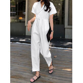 Women Solid Color V-neck Short Sleeve Buttons Casual Jumpsuits