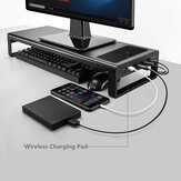 Original              Multifunction Computer Laptop Macbook USB HUB Base Stand Holder With QI WIreless Charger