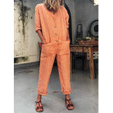 Solid Color Button Pocket Casual Jumpsuits