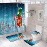 Cortina de chuveiro de decoração de Natal de 2020 Tapete de flanela Banheiro Produto para casa Banheiro Acessórios de conjunto de decoração