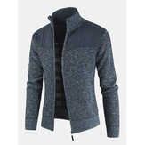 Mens Patchwork Zip Front Stand Collar Knit Casual Cardigans With Pocket