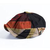 Banggood Design Men Patchwork Color Pattern Casual Krótki rondo ośmiokątna czapka Beret Hat