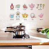 Cartoon Kitchen Utensil Wall Sticker Removable Kitchen Decorative Stickers Multi Color PVC Decals