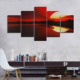 5 SZTUK Bezramowe Płótno Malowanie Czerwony Zmierzch Lakeside Obraz Modern Wall Art Home Decor