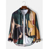 Mens Vintage Abstract Print Lapel Chest Pocket Leisure Shirt