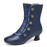 حذاء نسائي سادة اللون من الجلد الصناعي مريح يمكن ارتداؤه مع سحابات جانبية كعب أحذية قصيرة