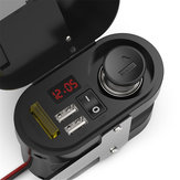 12V-24V 3.1A motorfiets waterdichte oplader met klok Dual USB auto voltmeter