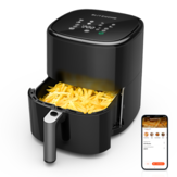 BlitzHome® BH-AF2 5L Smart Best Air Fryer com APP Control & Air Fryer Receitas Tecnologia RNC 360 ° Circulação de ar quente Cesta antiaderente removível com livro de receitas