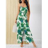 Tropical High Slit Backless Belt V-neck Summer Sleeveless Dress