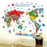 CartoonAnimalsWorldMapНаклейкина стены для украшения детской комнаты Safari Mural Art Zoo Дети Домашние наклейки