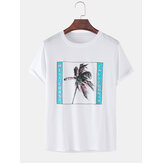 100% Cotton Coconut Tree Print Loose Short Sleeve T-Shirts