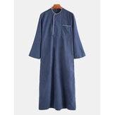 Mens Solid Color Loose Elegant Long Sleeve Kaftan Shirts