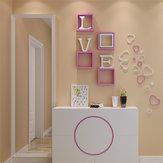 5 Adet 10 Renk DIY Kalp Şekli Duvar Çıkartmaları Decal Akrilik Ev Duvar Kapısı Yatak Odası Dekoru