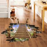 3D Holzbrücke Wohnzimmer Schlafzimmer Tiere Boden Haus Hintergrund Wand Dekor kreativer Aufkleber