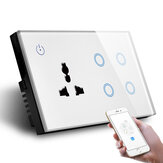 MAKEGOOD 147 * 86mm UK Standard Combination Switch لمس Glass Panel ذكي WIFI 4gang ضوء Switch and Wall Socket Voice مراقبة