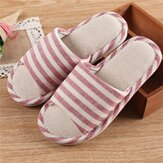 Women Striped Open Toe Comfy Slippers Home Shoes