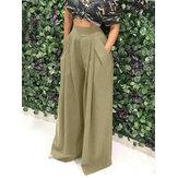 Kadınlar Saf Renk Yüksek Elastik Bel Cepli Basit Geniş Bacak Pantolon